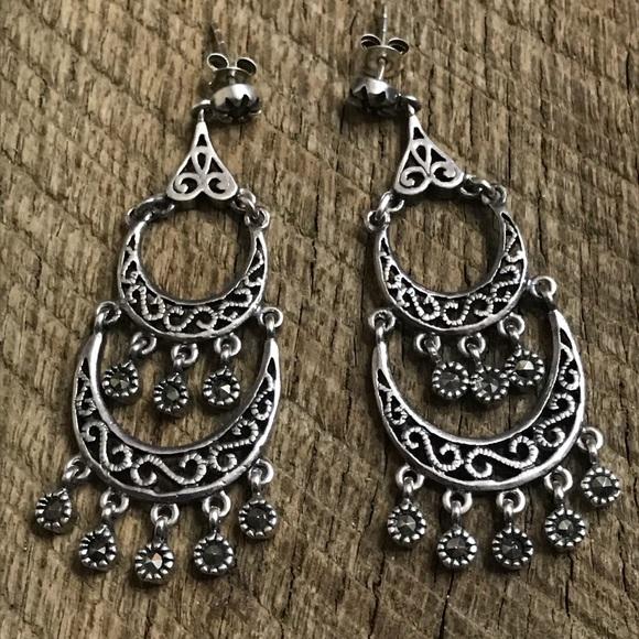 6200a8a37 Jewelry   925 Sterling Silver Dangle Earrings W Marcasite   Poshmark